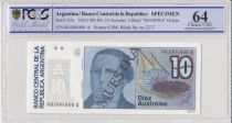 Argentine 10 Australes , S Derqui  - 1985 - Spécimen - PCGS 64 OPQ