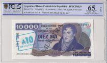 Argentine 10 Australes/10000 Pesos, M Belgrano  - 1985 - Spécimen - PCGS 65 OPQ