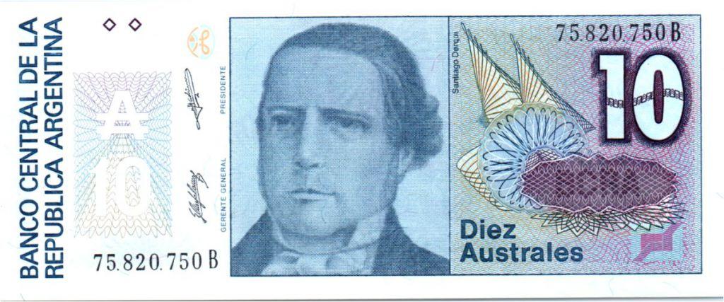 Argentine 10 Australes S. Derqui - Liberté - 1985/89 - Série B