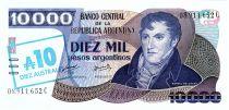 Argentine 10 Australes sur 10000 Pésos, Général San Martin - 1985