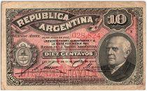 Argentine 10 Centavos, Domingo Sarmiento - 1895 - TB+ - P.228