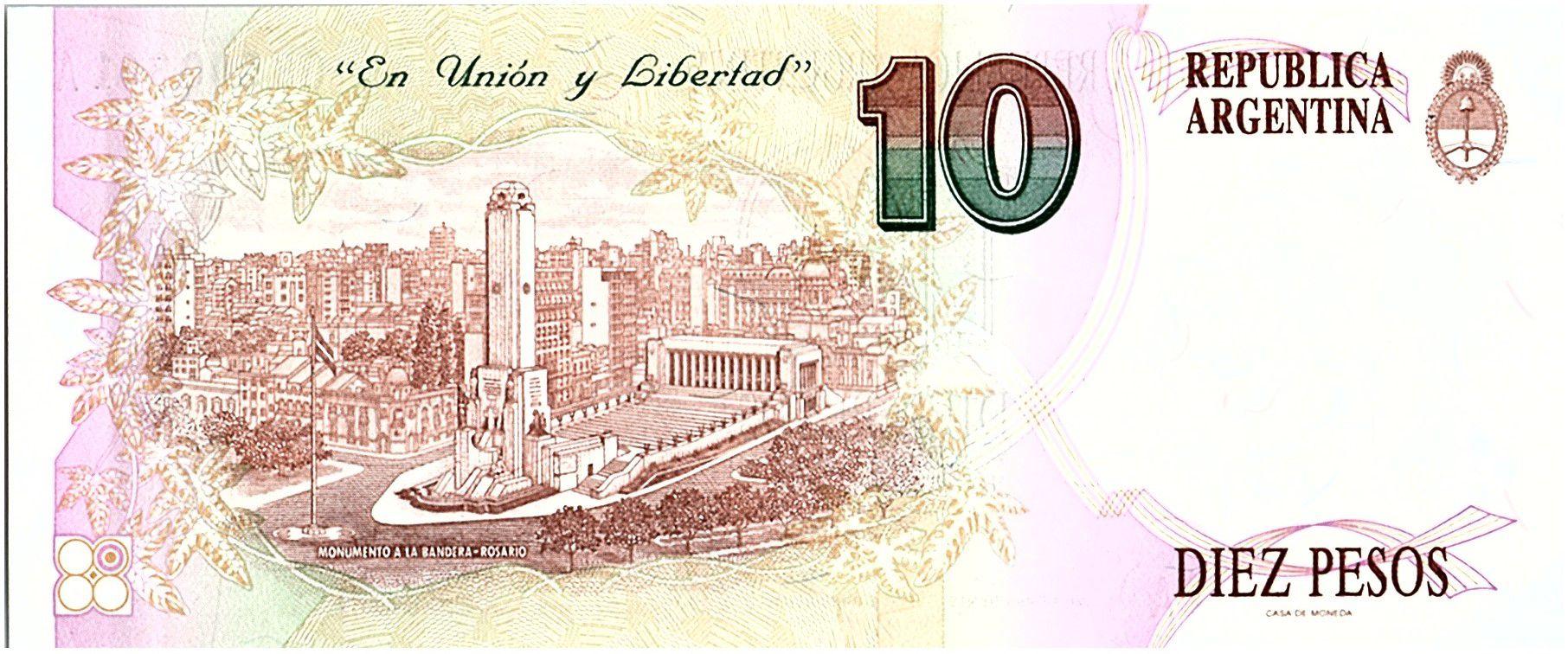Argentine 10 Pesos, Manuel Belgrano - 1992