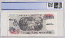 Argentine 10 Pesos Argentinos , G San Martin  - 1983 - Spécimen - PCGS 66 OPQ