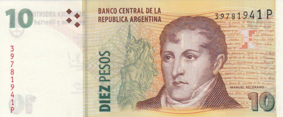 Argentine 10 Pesos M. Belgrano - Rosario - Serie P 2014