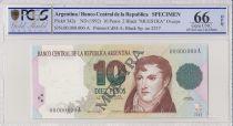 Argentine 10 Pesos Manuel Belgrano - 1992 - Spécimen - PCGS 66 OPQ
