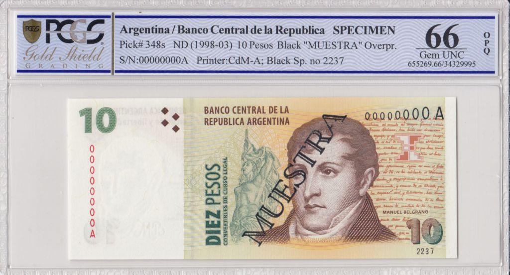Argentine 10 Pesos Manuel Belgrano - 1998 - Spécimen - PCGS 66 OPQ