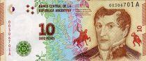 Argentine 10 Pesos Manuel Belgrano - 2016