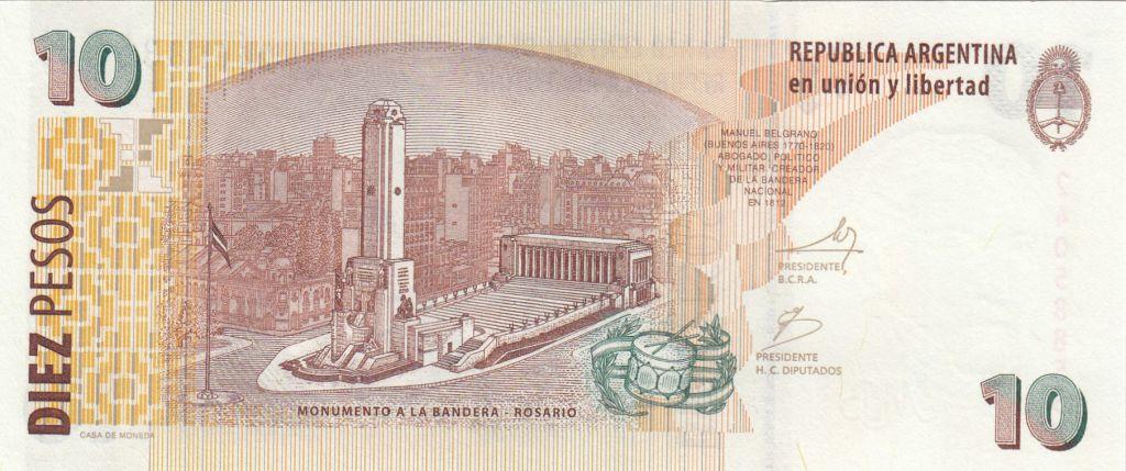 Argentine 10 Pesos ND1998-2003 - J. San Martin - Monument