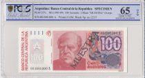 Argentine 100 Australes , D F Sarmiento  - 1985 - Spécimen - PCGS 65 OPQ