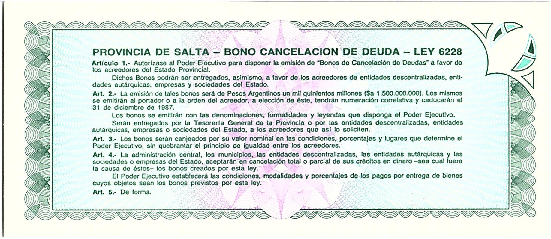 Argentine 100 australes , Province de Salta - 1987