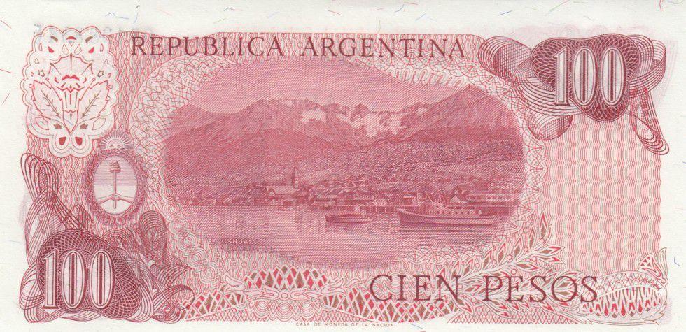 Argentine 100 Peso, J. San Martin - Ushuaia J. San Martin - Port d´Ushuaia - 1978