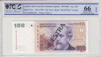 Argentine 100 pesos, M. Argentino Roca  - 1999 - Spécimen - PCGS 66OPQ