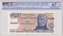Argentine 100 Pesos Argentinos , G San Martin  - 1983 - Spécimen - PCGS 67 OPQ