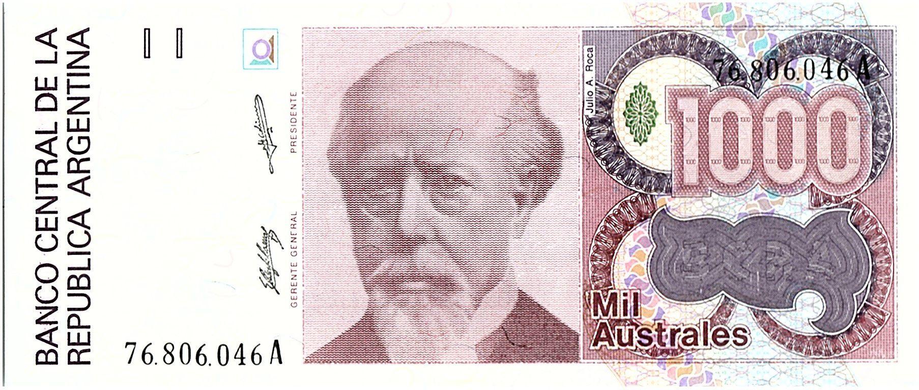Argentine 1000 Austales, Julio A Roca - 1988