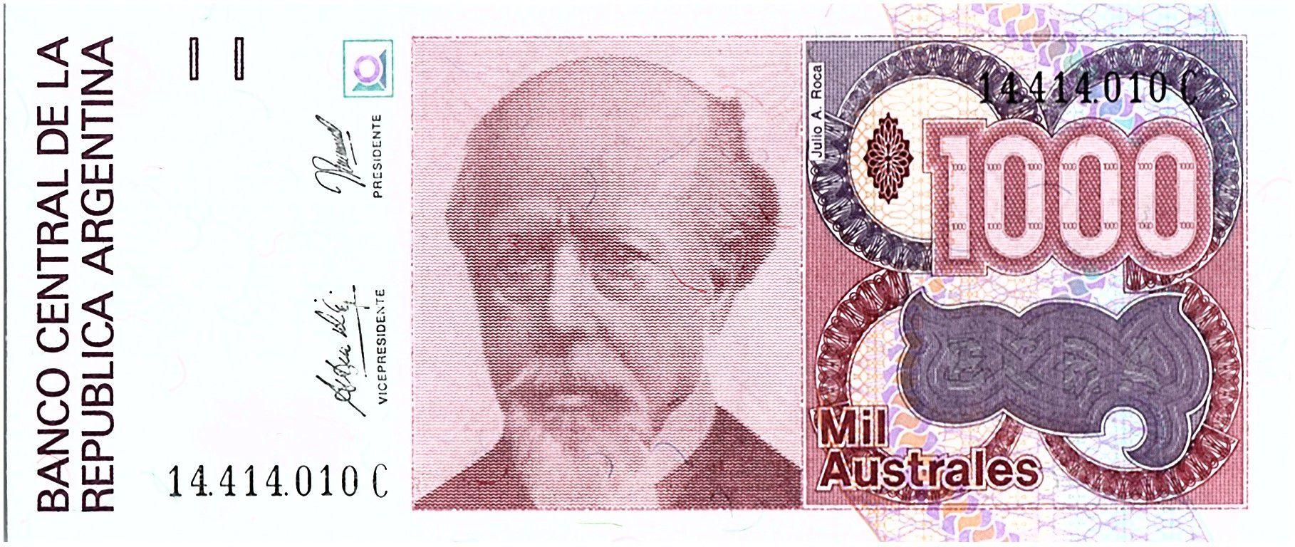 Argentine 1000 Austales, Julio A Roca - 1990