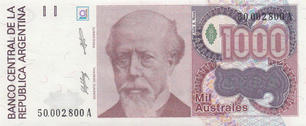 Argentine 1000 Australes J. A. Roca - Liberté - 1988