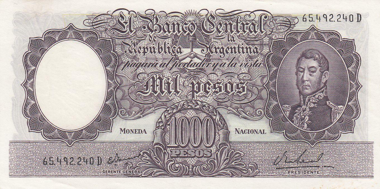 Argentine 1000 Pesos, José de San Martin - 1966