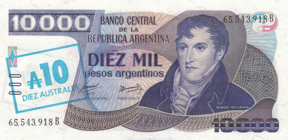 Argentine 10000 Pesos Argentinos Argentinos, M. Belgrano - Création de drapeau - 1985