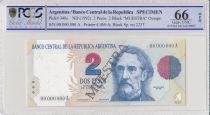 Argentine 2 Pesos Bartolomé Mitre - Musée - 1992 - Spécimen - PCGS 66 OPQ