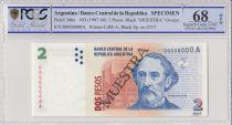 Argentine 2 Pesos Bartolomé Mitre - Musée - 1997 - Spécimen - PCGS 68 OPQ