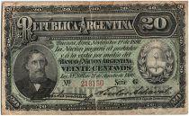 Argentine 20 Centavos, Bartolomé Mitré - 1891 - TB - P.211 b