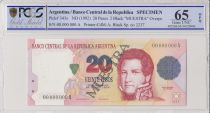 Argentine 20 Pesos Jean Manuel de Rosas - 1992 - Spécimen - PCGS 66 OPQ