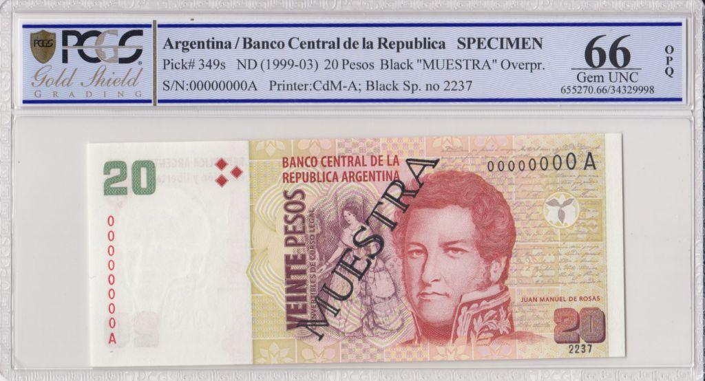Argentine 20 Pesos Jean Manuel de Rosas - 1998 - Spécimen - PCGS 66 OPQ