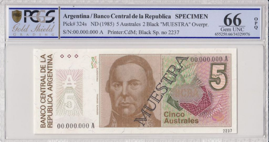 Argentine 5  Australes , J de Urquiza  - 1985 - Spécimen - PCGS 66 OPQ