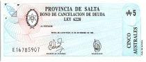 Argentine 5 australes , Province de Salta - 1987