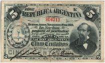 Argentine 5 Centavos, Nicolas Avellaneda - 1891 - TB+ - P.209 Série K
