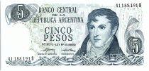 Argentine 5 Pesos, Général Belgrano - 1976