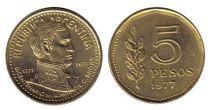 Argentine 5 Pesos Amiral G. Brown - 1977