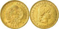 Argentine 5 Pesos Argentino 1887 - Or