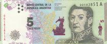Argentine 5 Pesos J. San Martin - Bolivar, Mendoza, Artigas 2015