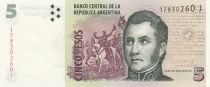 Argentine 5 Pesos J. San Martin - Mendoza - Série J - 2015 - Neuf - P.353