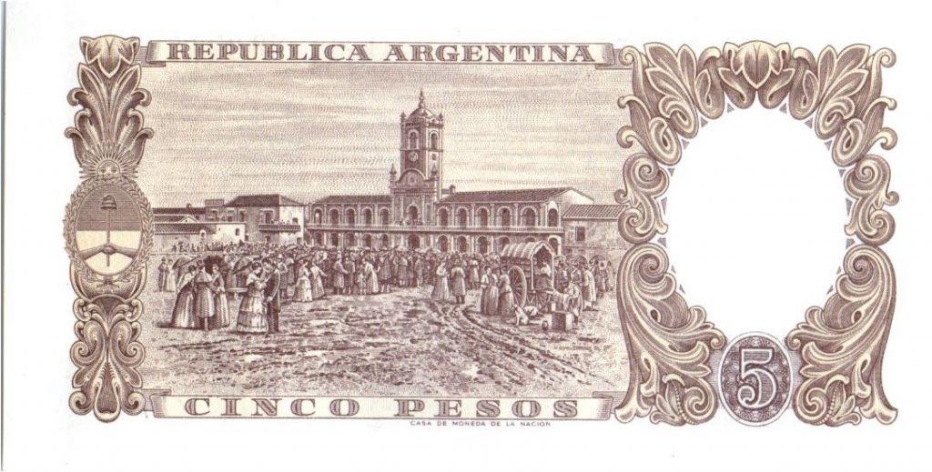 Argentine 5 Pesos J. San Martin - Rassemblement place ancienne - 1960-1962 Série A