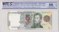 Argentine 5 Pesos José de San Martin - 1992 - Spécimen - PCGS 66 OPQ