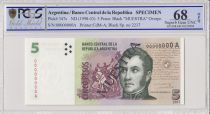 Argentine 5 Pesos José de San Martin - 1998 - Spécimen - PCGS 68 OPQ