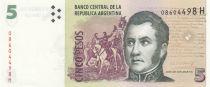Argentine 5 Pesos ND1996-2003 - J. San Martin - Monument