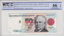 Argentine 50 pesos, M. Faustino Sarmiento  - 1992 - Spécimen - PCGS 66OPQ