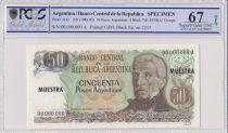 Argentine 50 Pesos Argentinos , G San Martin  - 1983 - Spécimen - PCGS 67 OPQ