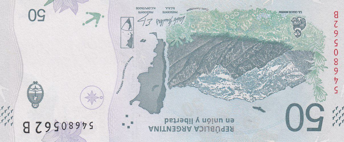 Argentine 50 Pesos Condor -  Montagne - 2020 (format vertical) - Série B - Neuf - P.363
