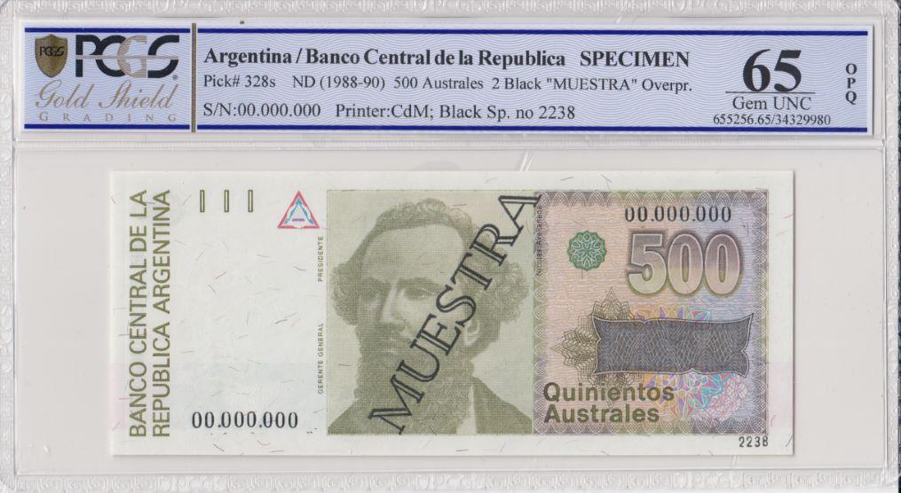 Argentine 500 Australes , N Avellaneda  - 1988 - Spécimen - PCGS 65 OPQ