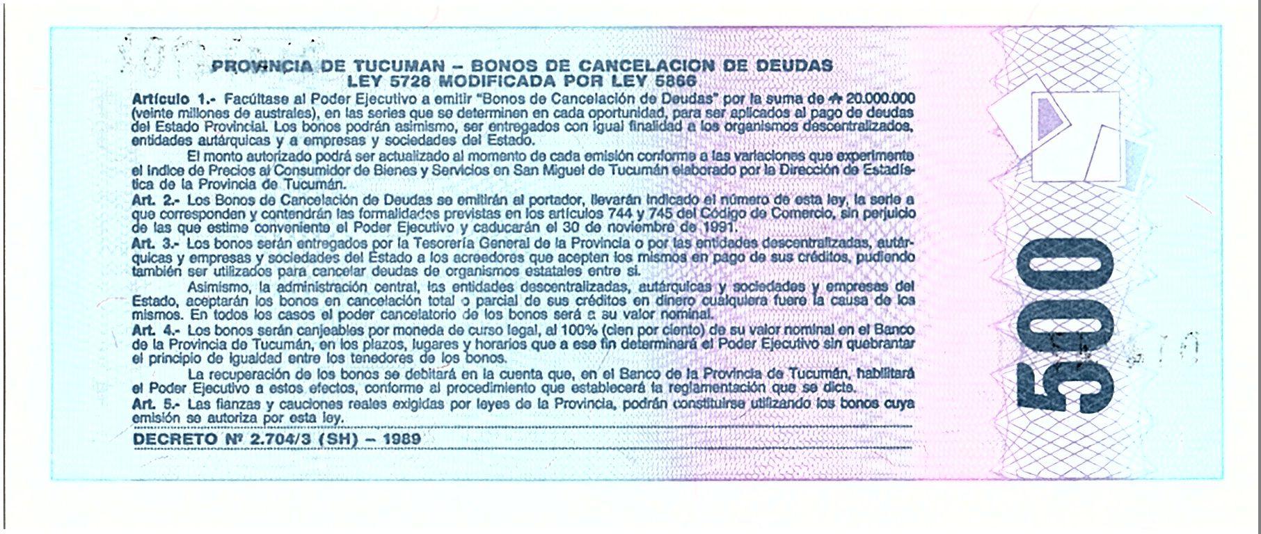 Argentine 500 Australes , Province de Tucuman - 1991