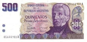 Argentine 500 Peso Argentino Argentino, J. San Martin