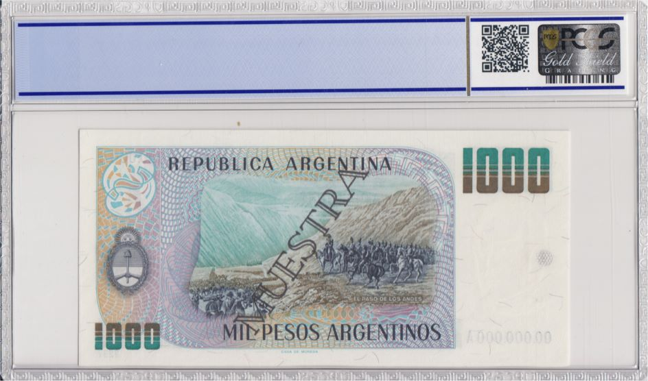 Argentine 500 Pesos Argentinos , G San Martin  - 1983 - Spécimen - PCGS 65 OPQ
