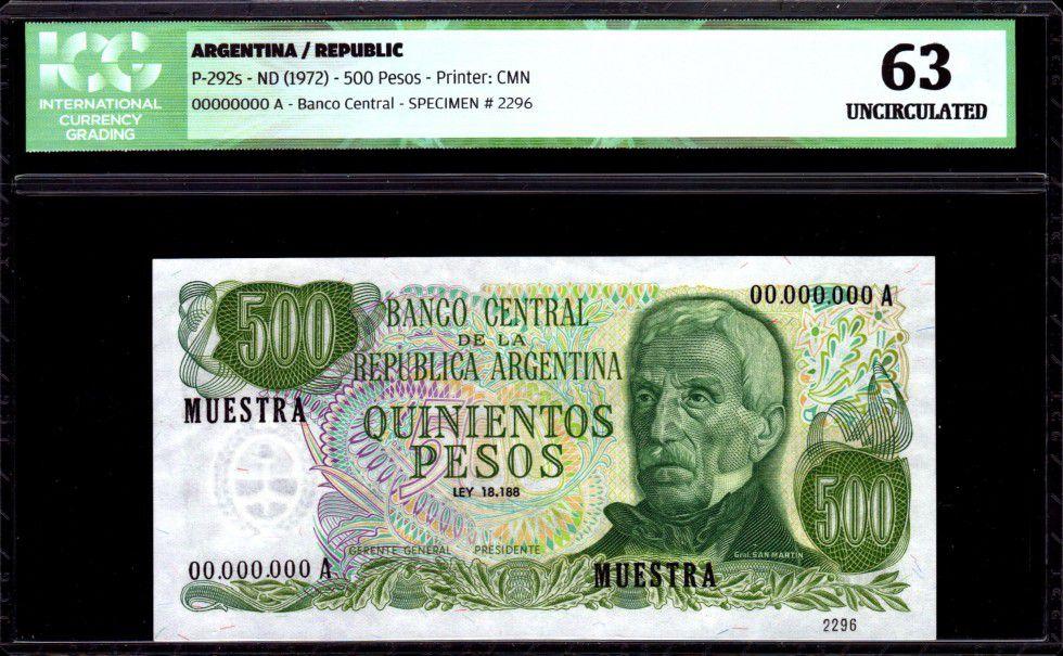 Argentine 500 Pesos J. San Martin - Monument à Mendoza - 1972 - ICG UNC63