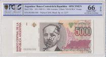 Argentine 5000 Australes , M J Celman  - 1989 - Spécimen - PCGS 66 OPQ