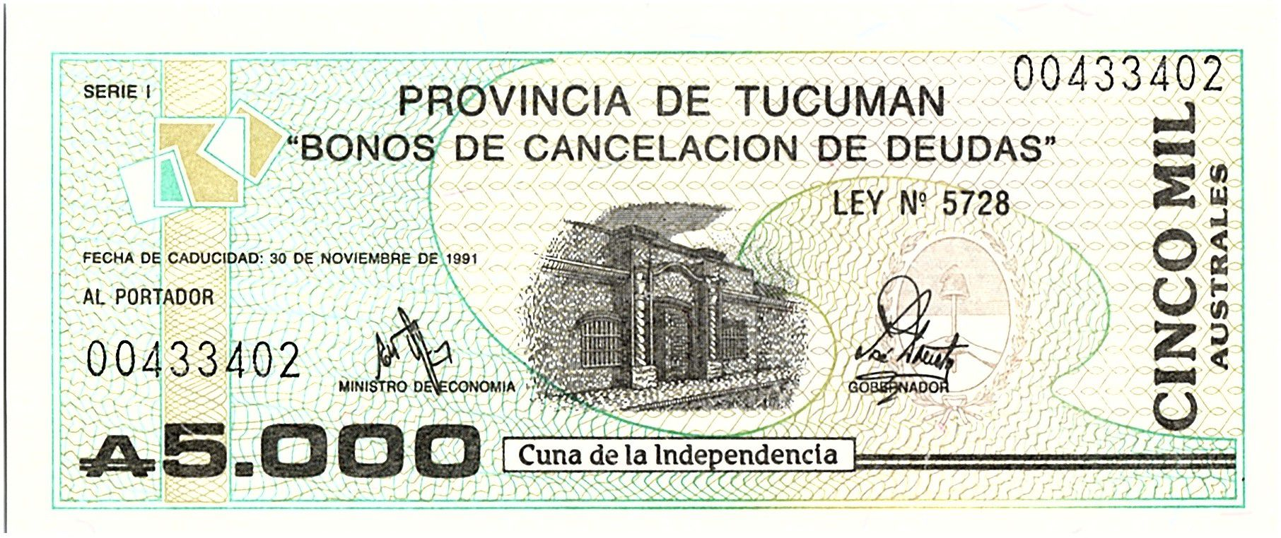 Argentine 5000 Australes , Province de Tucuman - 1991