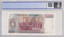 Argentine 5000 Pesos Argentinos , J B Alberdi  - 1984 - Spécimen - PCGS 64 OPQ